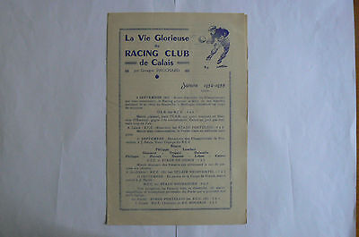 1932/33 (4th SEP) 4 PAGE FOOTBALL PROGRAMME/NEWSLETTER - RACING CLUB DE CALAIS
