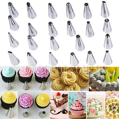 23 X Stainless Steel Icing Piping Nozzles Pastry Tips Set For Cake Decorat