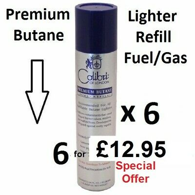Colibri of LONDON 6 x 90ml Premium Butane LIGHTER Fuel/GAS REFILL