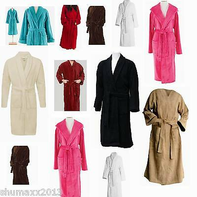 Mens & Ladies 100% Cotton Terry Towelling Shawl Collar Bathrobe Dressing Gown