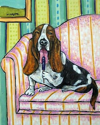 Basset hound with a popsicle 11x14 signed dog art print artwork