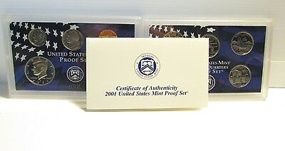 US Mint Proof Set Of Coins - 2001 - Cased Coins In Original Box - Y446 / 816