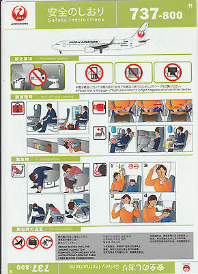 Safetycard JAL JAPAN AIRLINES 737-800