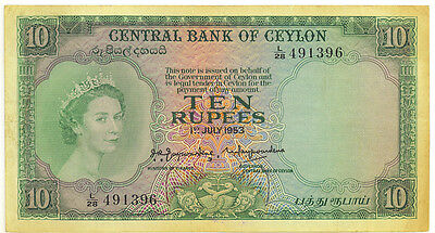 Central Bank of Ceylon 1st July 1953 10 Ten Rupees p-55 Pressed VF+