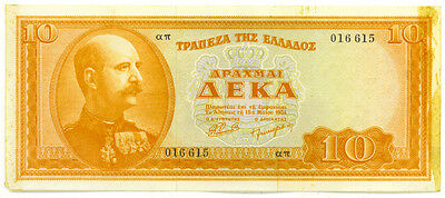 Greece 1954 10 Drachmai Note p-189a SCARCE in High Grade EF++ but Tape Residue
