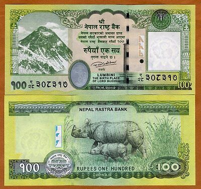 Nepal, 100 Rupees, 2015 (2016), P-New Sign, UNC Everest, Rhino, Buddha overprint