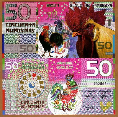 Kamberra, POLYMER, 50 Numismas, 2017 China Lunar Year, UNC > Rooster