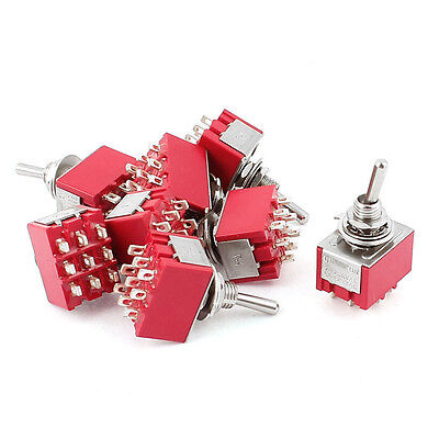 NEW 10pcs 9 Pin ON-ON 2 Positions Latching Toggle Switch AC120V/5A 250V/2A 3PDT