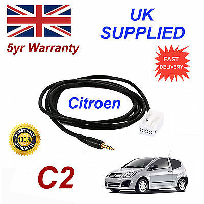 Citroen C2 B9 AUX 3.5mm Input Audio cable High Quality Sound model year 05-09