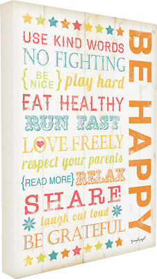 Stupell Industries The Kids Room Be Happy Kids Typography Canvas Wall Art