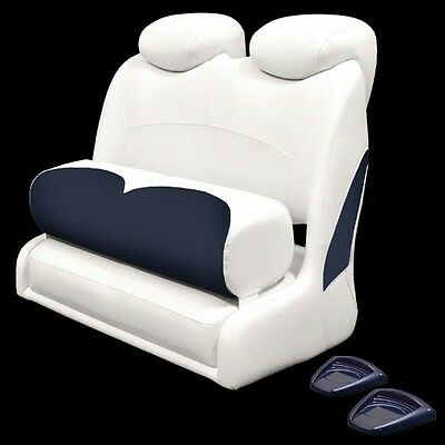 Crownline White / Blue Marine Boat Double Wide Two Person Bolster Bench Seat