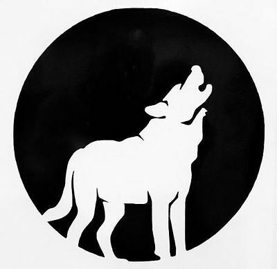 Howling Full Moon Wolf Silhouette Car Truck Window Vinyl Decal