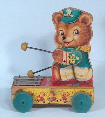 Vintage 1962 Fisher Price Tiny Teddy Bear Xylophone Wood Pull Toy 635