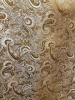 "3MGOLD/WHITE COLOUR PAISLEY METALLIC BROCADE FABRIC 58"" WIDE cheapest"