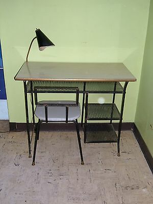 1950u0027s MID CENTURY MODERN DESK WITH GOOSENECK LAMP U0026 ORIGINAL CHAIR    LOROMAN
