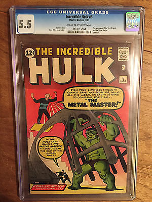 Incredible Hulk   #6  Cgc  5.5  Cream To Off White Pages  (1St Teen Brigade)