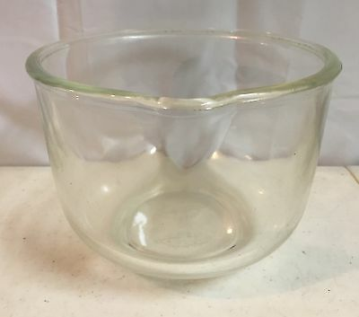 "Vintage 6 1/2"" Fire King for Sunbeam Mixing Bowl Clear Glass Made In USA"