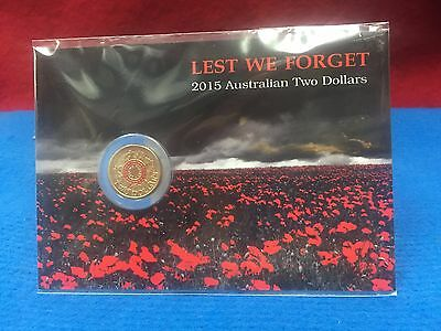 2015 RED $2 two dollars 'LEST WE FORGET'  Coin on Card