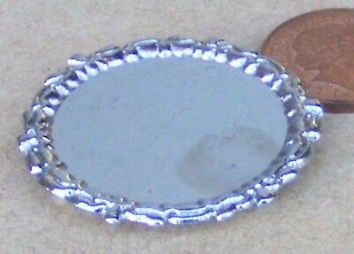 1:12 Round Silver Metal Tray Dolls House Miniature Kitchen Accessory 3.5cm