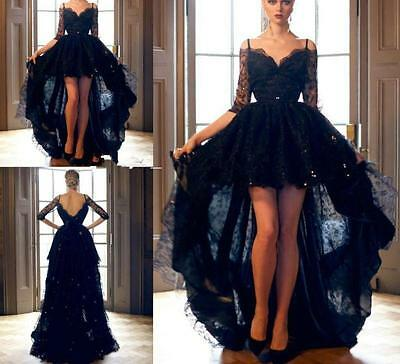 High Low Lace Half Sleeves Evening Dress Party Prom Formal Celebrity Gowns W1600