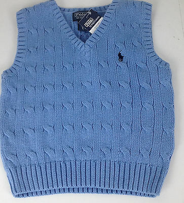 Ralph Lauren Polo Sweater Vest 18 Months Blue Cable Knit Navy Pony Cotton New