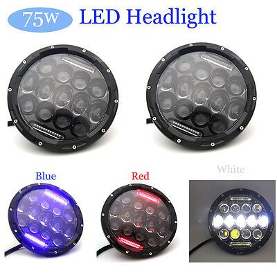 7 Inch 75W LED Headlight w/ Driving Fog Lights for Jeep Wrangler JK LJ CJ
