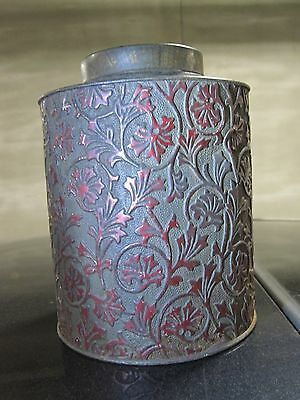 Antique Metal Tin Caddy Chicago Area Historical Society Deaccession Red Paint