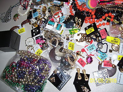 Overstock Lot Of Assorted Jewelry, Craft Items, Earrings, Pins, Beaded Necklaces