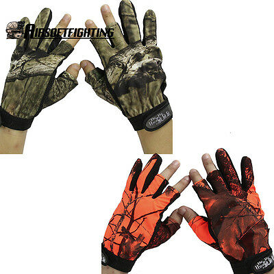 Tactical Camo Gloves Full+Half Finger Exposed 3 Fingers Portable Fishing Hunting