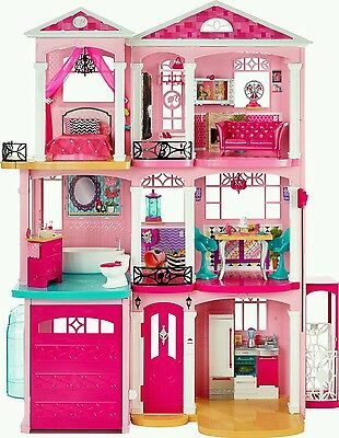 Girls Barbie 3 Storey Doll Dream House Play Set With Furniture/Accessories *PINK