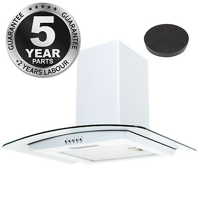 SIA CPL61WH 60cm Curved Glass White Cooker Hood Extractor Fan + Carbon Filter