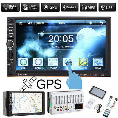 "7"" 2DIN IN DASH Touch Screen Car MP3 Player GPS FM Radio Bluetooth Stereo USB TF"