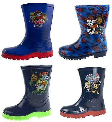 Boys Paw Patrol Wellington Boots Blue Rain Wellies Mid Calf Snow Boots Kids Size