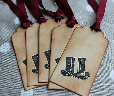 TOP HAT-Vintage Style Tags-Thank You-Best Man-Wedding Party-Ribbon Colour Choice