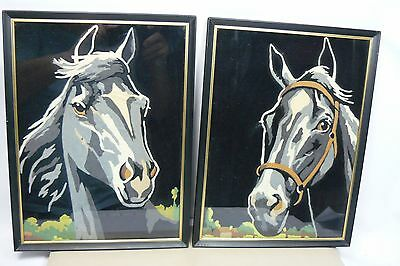 TWO Horse Head on Black Liquid Embroidery Framed Picture Pair Wall Decor