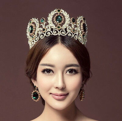 9cm High Crystal Tiara Earrings Set Wedding Party Pageant Prom Crown - 3 Colors