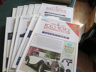 Rolls Royce Enthusiasts Club Advertiser Magazine 1998 - 11 Issues