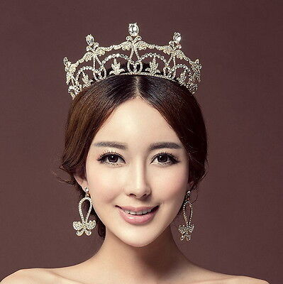 7cm High Crystal Tiara Earrings Set Wedding Party Pageant Prom Crown - 2 Colors
