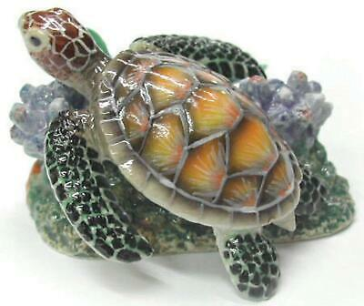 Northern Rose Miniature Porcelain Animal Figure Sea Turtle on Coral R291