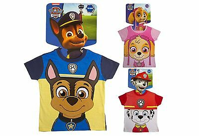 Paw Patrol T Shirt With Face Mask Short Sleeve Top Skye Chase Marshall Kids Size