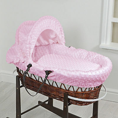 New 4Baby Pink Dimple Dark Wicker Deluxe Padded Baby Girls Moses Basket
