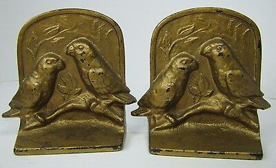 Antique Cast Iron Bird Bookends pair of love birds sitting branch old gold paint