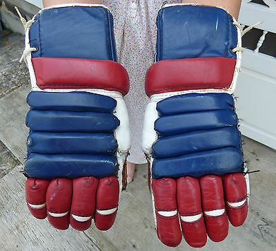 Old CCM 'Montreal Canadiens' senior/adult leather hockey gloves FREE SHIPPING!