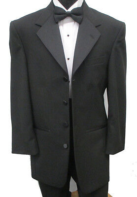 Black Jean Yves 4 Button Tuxedo Jacket Halloween Costume Frock Steampunk 44L