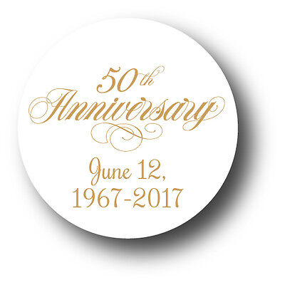 50th Wedding Anniversary Party Favor Stickers - personalized with date