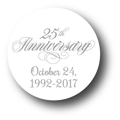 25th Wedding Anniversary Party Favor Stickers - personalized with date