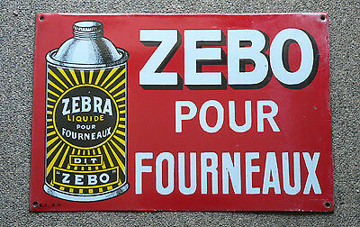 Vintage 1920's French ZEBO oven polish porcelain advertising sign FREE SHIP!