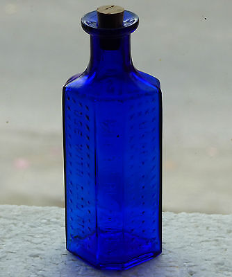 Old cobalt blue coffin shaped RIGO Glass 2oz POISON bottle *FREE SHIPPING!