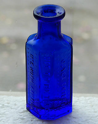 Old cobalt blue coffin shaped RIGO Glass 1oz POISON bottle *FREE SHIPPING!