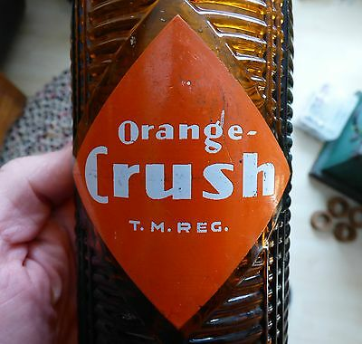 Rare Canadian quart size AMBER 30oz CRUSH ACL Canada soda pop bottle FREE SHIP!